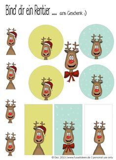 Rentier: Tags und Karte zum ausdrucken Printable Cards, Printables, Dear Santa, Print And Cut, Painted Rocks, Vintage Christmas, Advent Calendar, Xmas, Holiday Decor