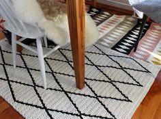 Pirjon kädenjälkiä: crocheted Beni Ouarain inspired rug and another one with small diamonds.