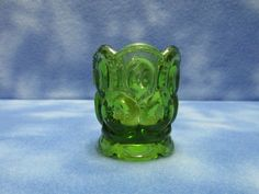 $10.50 + $3.54 shipping Beautiful Vintage Moon & Stars Green Glass Toothpick Holder