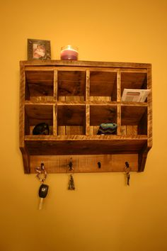 Key Rack Holder Wall Organizer Reclaimed wood. via Etsy.
