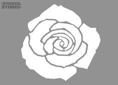 Stencil, Tea Rose Flower Design, stencil for use on walls for DIY/home decor. Single layer reusable stencil from The Stencil Studio