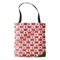 Red Green Dots Tote Bag