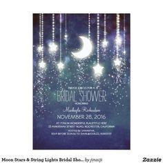 """Moon Stars & String Lights Bridal Shower 5"""" X 7"""" Invitation Card"""