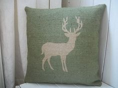 Woodland Green Stag Cushion