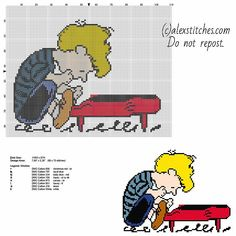 Schroeder Peanuts cartoon character free cross stitch pattern