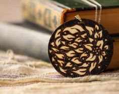 Fire Flower Necklace (Wood Burned / Pyrography)