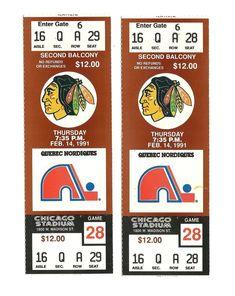 CHICAGO BLACKHAWKS VS QUEBEC NORDIQUES UNUSED HOCKEY TICKETS FROM 2/14/1991 | eBay