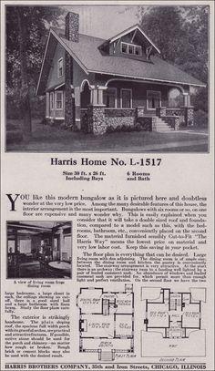 Side-gabled Craftsman-style Bungalow - 1918 Harris Bros. Co. Kit Houses - Plan L-1517