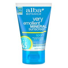 Very Emollient Sport Mineral Sunscreen SPF 45 by ALBA BOTANICA - This moisturizing sunscreen provides broad spectrum UVA/UVB protection against sunburn, skin cancer, and premature signs of aging. Water resistant up to 80 minutes. Contains no oxybenzone, PABA, nano-particles, Vitamin A, or synthetic fragrances. Reef safe, Biodegradable, and gluten free.