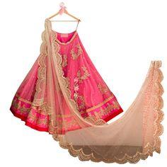 Net+Zari+Work+Pink+Semi+Stitched+Lehenga+-+Asv15 at Rs 1599