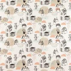 Baumwolle, Weiß, gezeichnete Fantasielan