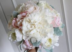 Silk Bride Bouquet Ivory Peonies Blush Pink by greengreencloud