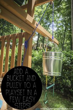 Take your playset to the next level with a handy bucket pulley system. outdoor play area for kids forts Add a Bucket With a Pulley to an Outdoor Playset in a Few Easy Steps