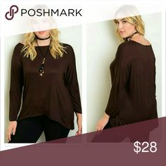 PLUS--Perfecto Mocha Top Long sleeved. Fabric: 95% Rayon 5% Spandex   This jersey knit top features 3/4 sleeves, a round neckline and a relaxed fit. Tops Tees - Long Sleeve