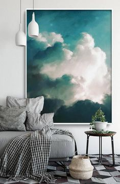 Extra Large Wall Art - Cloud Painting by Corinne Melanie Art in living room ideas illusions Extra Large Wall Art, Cloud Painting, Abstract Art, Large Abstract Painting, Cloudscape Art by CORINNE MELANIE 'Aurae III' Art Mural Vert, Grand Art Mural, Cloud Art, Green Wall Art, Extra Large Wall Art, Large Art, Home And Deco, My New Room, Wall Art Designs