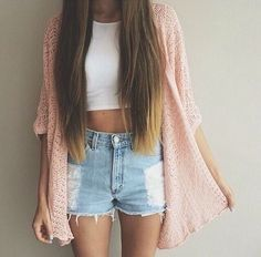Cute summer outfit ripped denim shorts white crop top