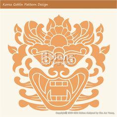 한국의 도깨비 문양 패턴디자인. 한국 전통문양 패턴 디자인 시리즈. (BPTD010030) Korea Goblin Pattern Design. Korean traditional Design Series. Copyrightⓒ2000-2014 Boians.com designed by Cho Joo Young.