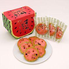 Watermelon shaped rice cracker  とよす「すいかおかき」
