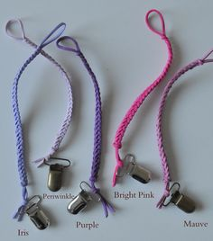 Make sure your little is Pretty in pink AND purple with these lovely braided binky clips.  https://www.etsy.com/shop/braidedlovelies