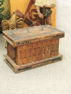 40 OFF Entire Shop  Antique Folk Art Wooden Box  by wilshepherd, $85.00