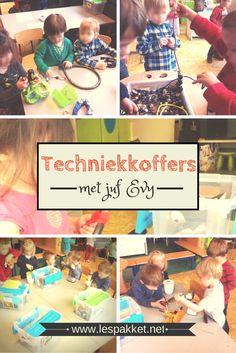 ideeën om techniekkoffers te vullen in de klas (van juf Evy - techniek met kleuters - Lespakket)