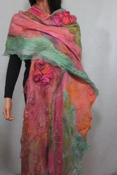 Nuno felted scarf Chunky  Long Felt Shawlf Textured by RaisaFelt, $249.00