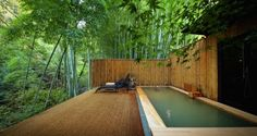 japan - pool in bamboo wood Japanese Hot Springs, Japanese Bath, Natural Pond, Holiday Places, Japanese Architecture, Outdoor Swimming Pool, Hotels And Resorts, Nice View, Landscape Design