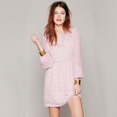 Free People Noveau Butterfly Dress Tea Combo Delicate printed dress by Free People with a ruffled collar and bust featuring sheer sleeves with elastic cuffs and a hidden back zipper. Free People Dresses