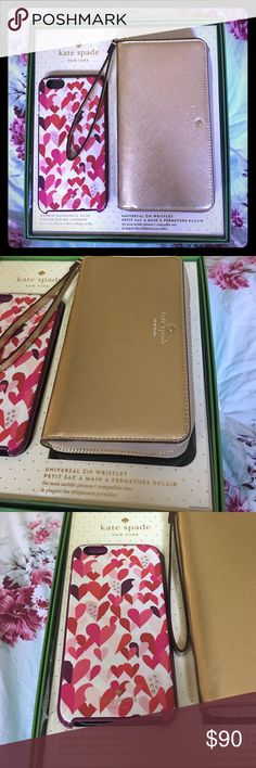Kate Spade wristlet and iPhone 6 Plus case Bundle with this beautiful Kate spade set. The wristlet is gold and has never been used. Fits the iPhone 6 Plus phone and has card slots to work as a wallet. The case is super adorable with bling. It has been used. The wristlet alone is sold at Best Buy for 100$. Open to reasonable offers kate spade Accessories Key & Card Holders