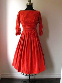 1950's Vintage Party Dress - Salmon Velvet Party Dress