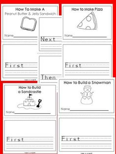 CreateHow To mini books. Students learn to sequence events and write directions on how to do things that are familiar to them using first, next , then and last. 1st Grade Writing, Kindergarten Writing, Teaching Writing, Writing Activities, Classroom Activities, Writing Prompts, Teaching Resources, Writing Ideas, Teaching Ideas