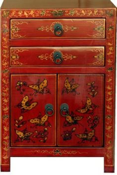 Tibetan Painted Bedside Table Tables Chinese Furniture Antique Asian Oriental Tibet Flare