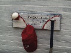 Baseball Player Gift Softball Kids Room Decor Personalized Team Ball, Bat, Glove, Hat Hanging Wall Rack Made to Order. $36.00, via Etsy.