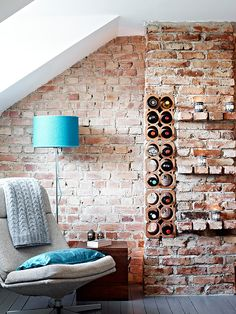 wine rack built into the brick wall