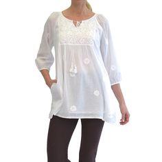 f35a146fca1 La Cera Women s White 3 4 Sleeve Tunic Top (Medium) (cotton