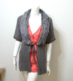 WOMEN THE LIMITED faux fur collar sweater cardigan S l #THELIMITED #Cardigan
