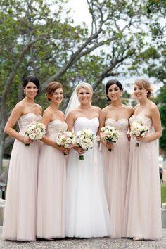 gorgeous blush pink bridesmaids dresses with sparkle detailing