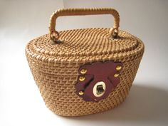 Mid Century Hand Woven Wicker Handbag with Leather by Esoterique50, $25.00