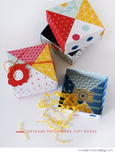 DIY Origami Patchwork Gift Boxes Tutorial from The Red Thread here. This is an easy DIY because you tape four square pieces of paper together to get this look. For other good origami DIYs go here. Cool Paper Crafts, Diy Paper, Paper Crafting, Easy Crafts, Crafts For Kids, Origami Gift Box, Origami Paper, Origami Boxes, Dollar Origami