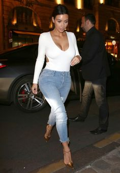 I would wear this n darker hues. Navy bodysuit or grey with darker wash jeans and flats. Paired with a high bun.