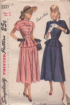 MOMSPatterns Vintage Sewing Patterns - Simplicity 2321 Vintage 40's Sewing Patern So PRETTY Simple to Make Afternoon Suit Dress, Flounced Peplum Jacket Top Blouse, Bias Flared Skirt Size 15