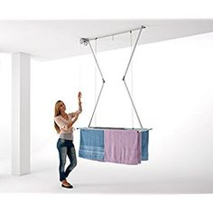Ceiling Mounted Pulley Clothes Airer, Clothes drying rack, Airer Foxydry Mini 120, vertical folding laundry drying rack