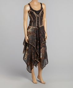 Black Scoop Neck Midi Dress by Fashion Terminal #zulily #zulilyfinds