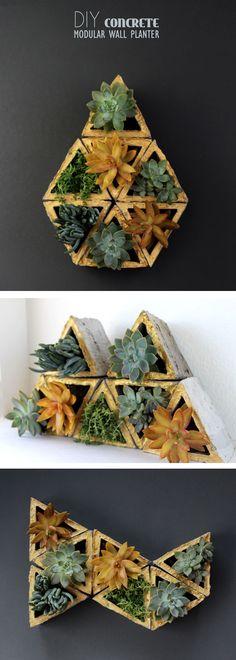 DIY Concrete modular planters! What a unique and eye-catching way to bring your garden inside!  #modular #modulación #módulos
