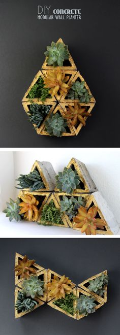 DIY Concrete modular planters - these are really cool!