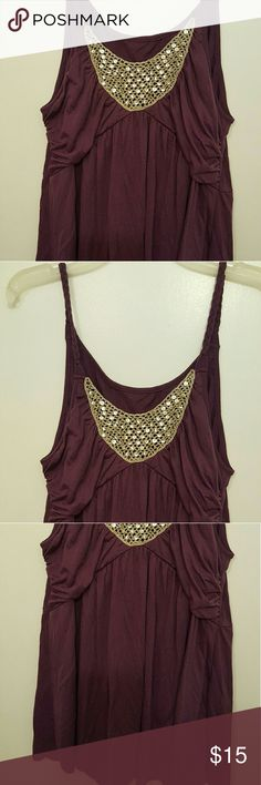 NWOT Purple and Gold Sequins Tank Dark purple with crocheted and sequined gold accent across the chest. Flowly. Tops Tank Tops
