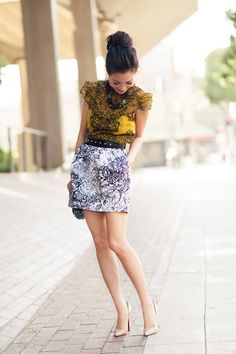 I can never resist a mini tulip skirt!  Karen Millen top, Zara skirt and CL perfect nudes!