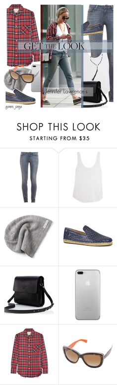 """Jennifer Lawrence's - Get the look"" by goreti ❤ liked on Polyvore featuring Paige Denim, Frame Denim, Converse, UGG, R13, Dolce&Gabbana, Club Monaco, GetTheLook, Get and CelebrityStyle"