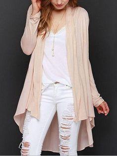 #Fashionmia - #Fashionmia BASIC Asymmetrical Hems Collarless Cardigan - AdoreWe.com