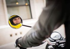 enjoying it during our test ride of the street Scrambler ! 📸 by jacobkhrist . Street Scrambler, Cafe Racer Girl, Paris Street, Helmets, Blond, It Cast, Motorcycle, Bike, France